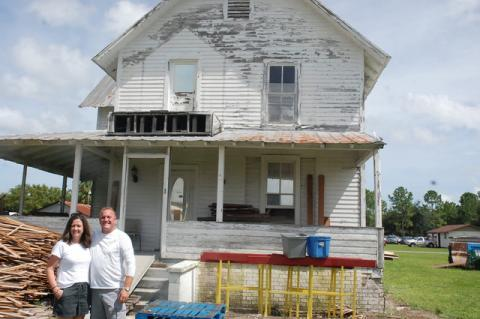 Michelle and Terry Swearingen (above), owners of Relics and Rust, will dismantle the historic Balsley House to salvage intact pieces for other historic restoration projects.