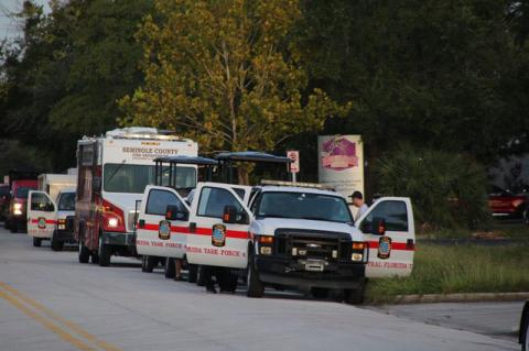 The Task Force 4 (above) includes two F-150 pickup trucks, a van, a tractor trailer, a fuel truck and a command bus.