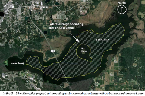 A map shows where the barge will operate on Lake Jesup to help clean up the algae and nutrients.