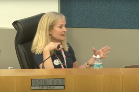 School Board Member Kristi Kraus (above) discusses masks in school and proclaiming June as Pride Month.
