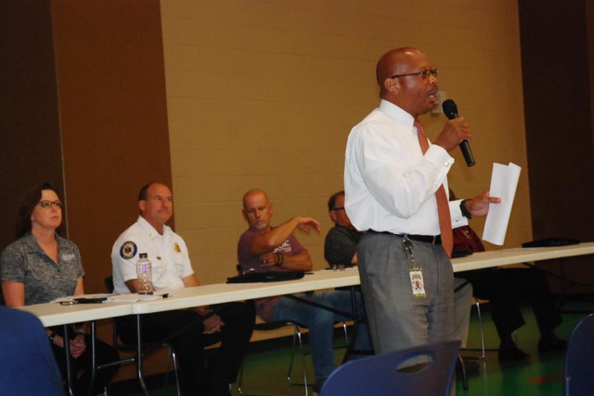 City Manager Norton Bonaparte Jr. introduces City of Sanford department heads at the monthly Community Meeting Thursday night.